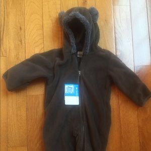 Columbia brown fleece tiny bear bunting 6-12 month